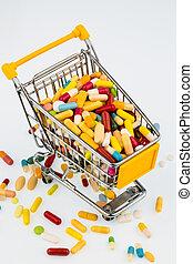 farverig, tabletter, ind, cart