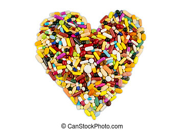 farverig, tabletter, ind, hjerte form