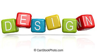 farverig, terning, hos, konstruktion, glose