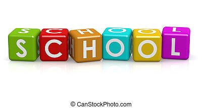 farverig, terning, hos, skole, glose