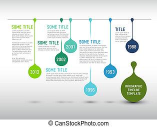 farverig, timeline, infographic, skabelon, rapport, nedgange