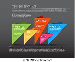 farverig, timeline, mørke, infographic, skabelon, rapport