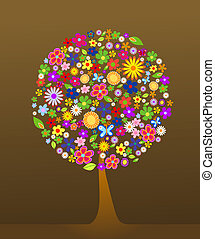 farverig, træ, hos, blomster