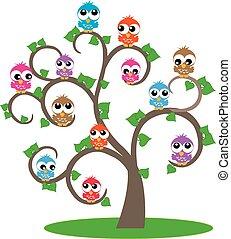 farverig, ugler, ind, en, træ