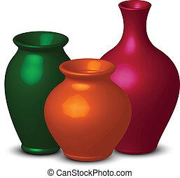 farverig, vaser