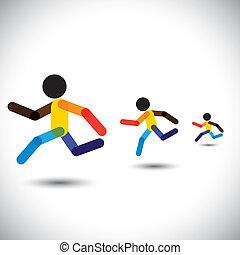 farverig, vektor, iconerne, i, i fuld fart, atleter, racing,...