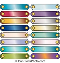 farverig, vektor, knap, samling