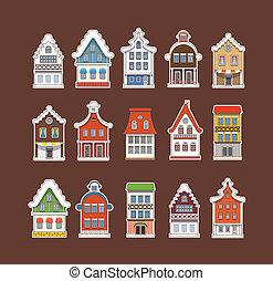 farverig, vinhøst, samling, traditionelle, huse, amsterdam