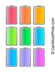 farvet, batteri, ikon, sæt