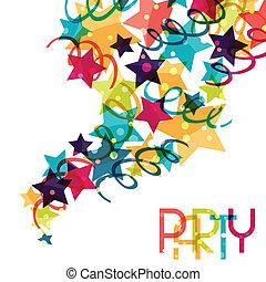 farvet, decorations., baggrund, ferie, skinnende, fest