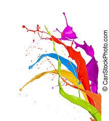 farvet, isoleret, maling, plaske, baggrund, hvid