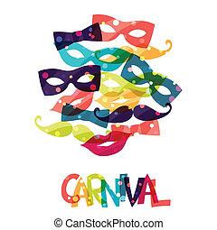 farvet, karneval, accessories., baggrund, ferie, skinnende