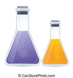 farvet, kemisk, ind, lommeflaske