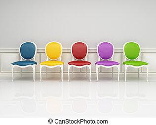 farvet, klassisk, stol