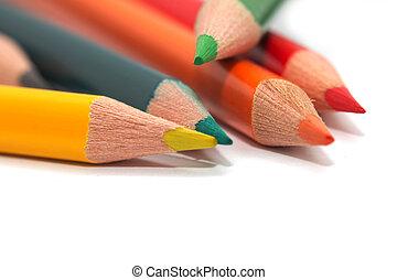 farvet, pencils., makro