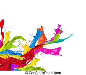 farvet, plaske, ind, abstrakt form, isoleret, på hvide,...