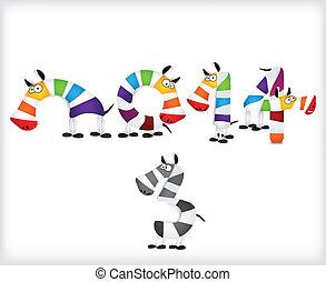 farvet, vektor, zebra, år, nye, horses.