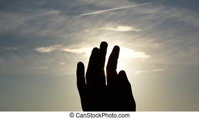 farwatery, pięść, belki, ręka, przez, słoneczny