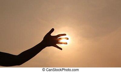 farwatery, sylwetka, słońce, niebo, palce, przeciw, ręka, przez, belki