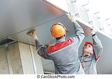 fasad, arbetare, installera, metall, brädfodring