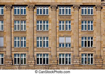 fasad, av, gammal, hus