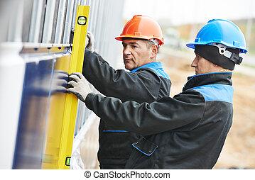 fasad, byggmästare, arbetare, gipsarbetare, plan