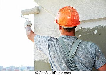 fasad, byggmästare, arbetare, gipsarbetare