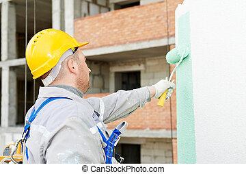 fasad, byggmästare, arbete, målare