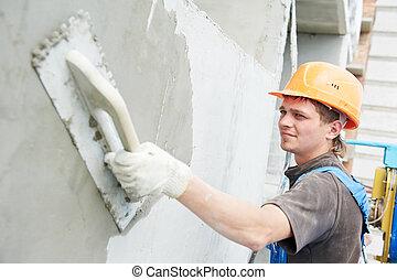 fasad, byggmästare, gipsarbetare, på arbete