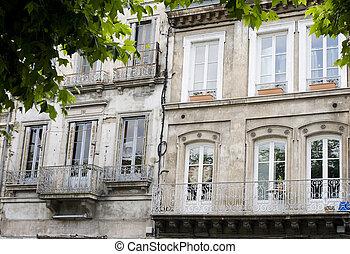 fasad, byggnad, fransk, utsirad