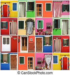 fasad, flerfärgad, abstrakt