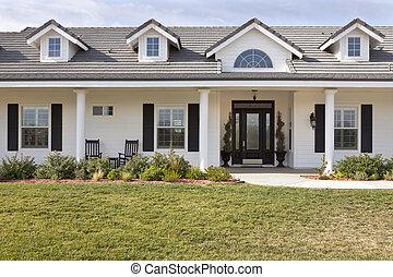 fasad, hus, nyligen, nymodig, constructed