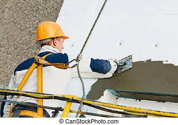 fasad, stoppande, och, surfacer, arbeten