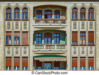 fasade, edificio, viejo