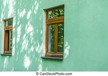 fasade of a house with two windows