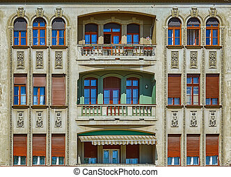 Fasade of an Old Building in Timisoara, Romania