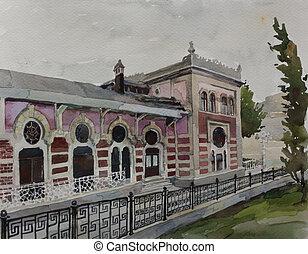 fasade, sirkeci, original, arte, acuarela, histórico, ...