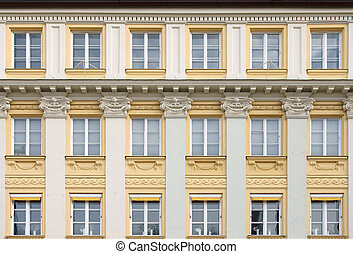 Fasade with windows in Munich, Germany