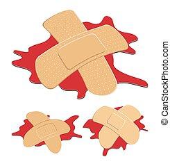 fasciatura, sangue, adesivo, forma, isolato, differente, cross., curvo, fondo., vettore, set, puddle., illustrazione, flessibile, -, medico, bianco rosso, intonacare, tessuto