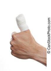 fasciatura, su, uno, dito