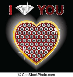 fascinante, coração, de, ouro, e, diamante