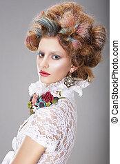 fascinante, mulher, com, stylized, fantástico, coiffure