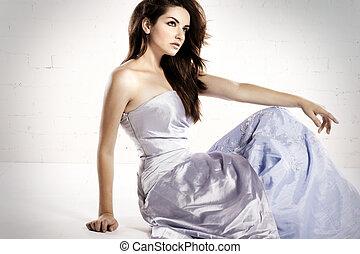 fascinante, mulher, vestido