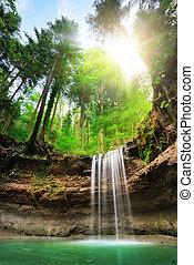 fascinante, paisaje, con, cascadas