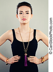 fascinante, retrato, de, mulher bonita, modelo moda, com, jóia