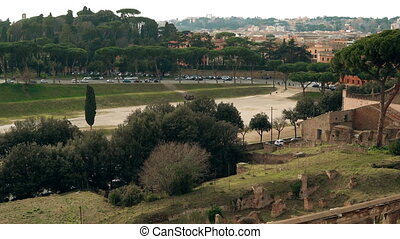 fascinating and magnificent landscape of an ancient part of Rome, Italy Circus Maximus. A beautiful panorama of city.
