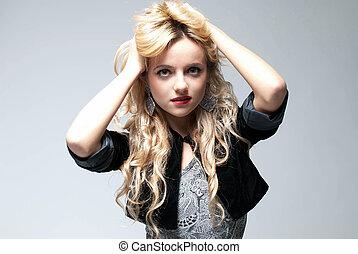 Fascinating blonde model portrait