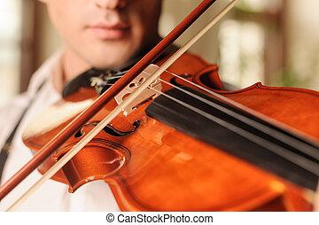 fascinating., il, haut fin, violon, sons, jouer, homme