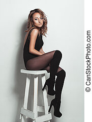 fascination, portrait, modèle, jeune, sexy, propre, femme, maquillage, blonds, caucasien, regard, élégant, peau, beau, parfait, mode, élégant, élevé