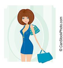 fascino, borsa, ragazza, shopping
